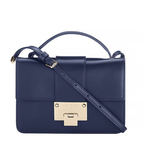 Smooth Leather Cross Body Bag, Navy