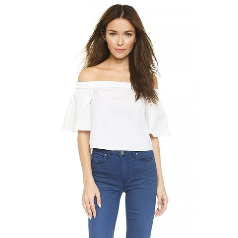 Off Shoulder Short Sleeve Top, White