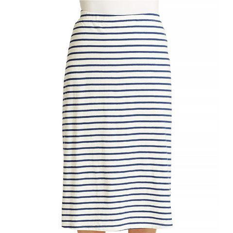 Striped Organic Cotton Midi Skirt