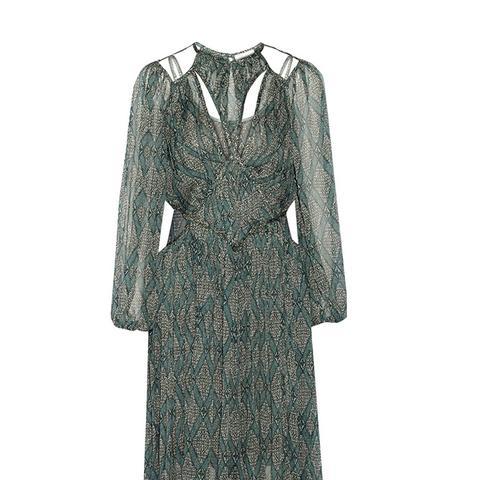 Riot Web Printed Silk-Georgette and Organza Dress