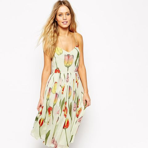 Midi Strappy Skater Dress in Tulip Print With Pleated Skirt