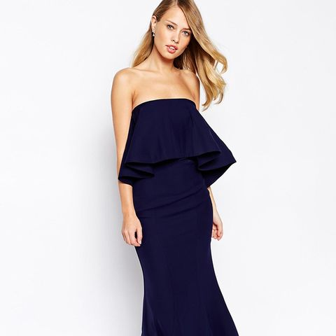 Bandeau Maxi Dress With Exaggerated Frill