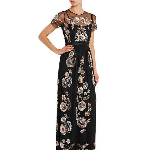 Sequin-Embellished Tulle Maxi Dress
