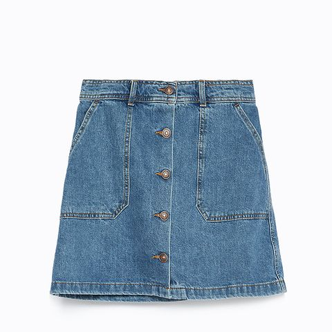Denim Mini Skater Skirt