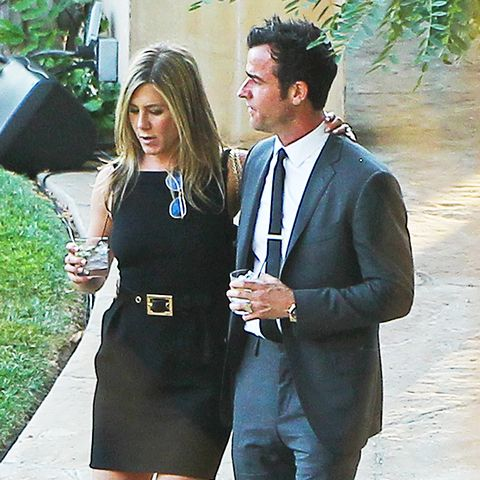 celebrity wedding guest outfits: jennifer aniston