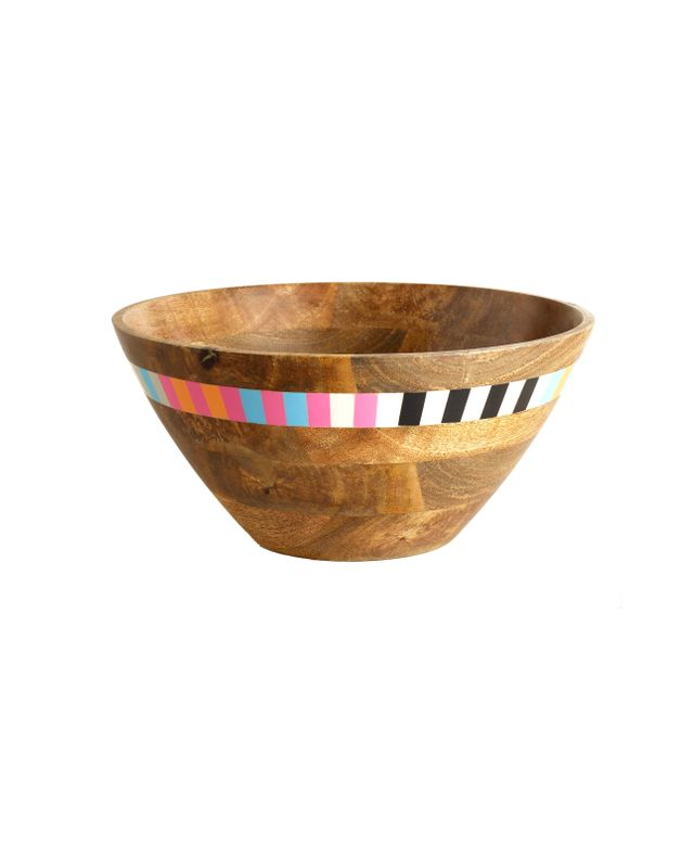 World Market Striped Wood Salad Bowl