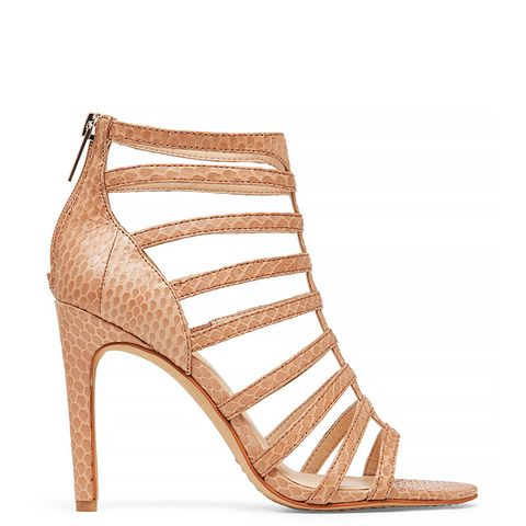 Kamella Leather Strappy Open-Toe Sandals, Nude