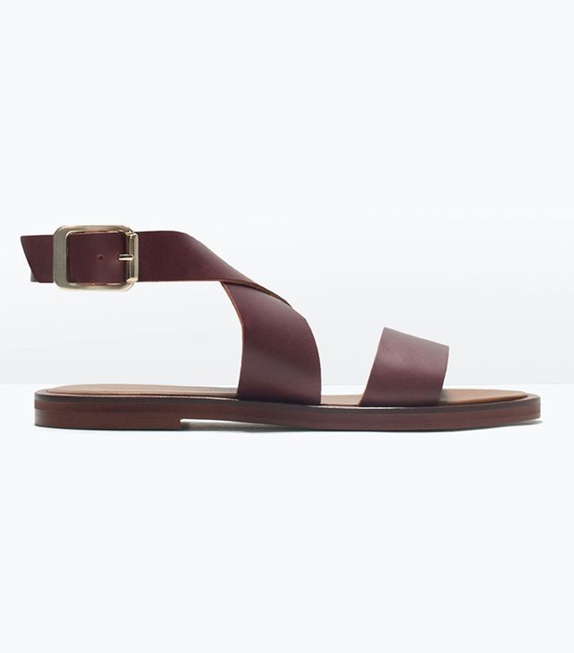 Zara Flat Leather Sandals