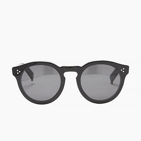 Leonard II Tuxedo Sunglasses, Black/White