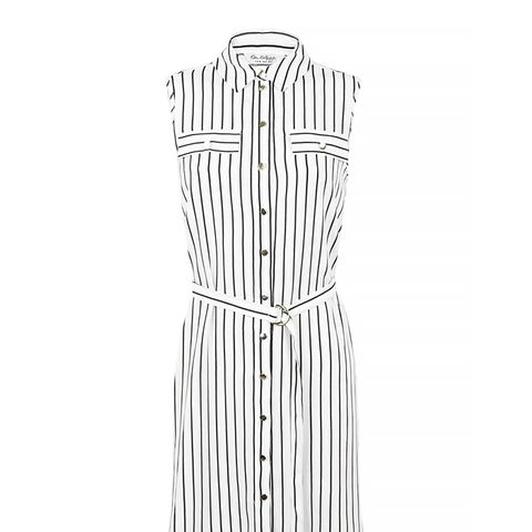 Striped Shirt Dress, White