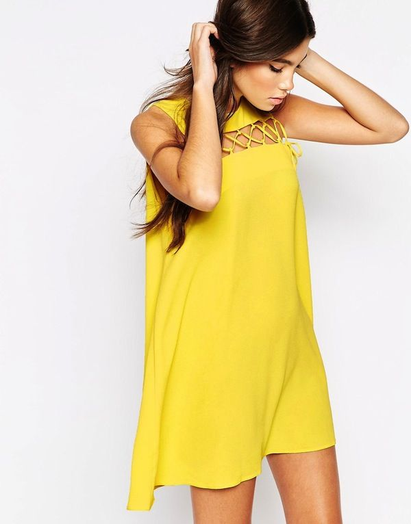 Love Shift Dress With Lace Up Detail