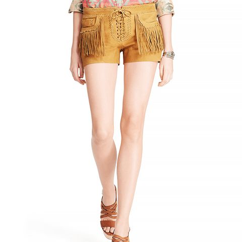Deerskin Fringe Short, Tan