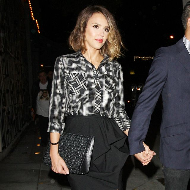 Jessica Alba Makes a Plaid Shirt Work for a Night Out