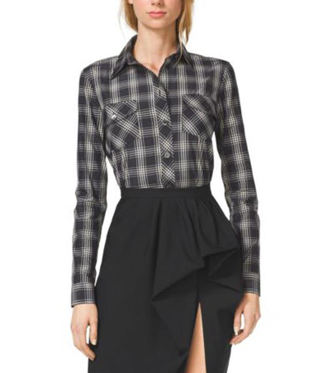 Michael Kors Plaid Silk and Cotton Shirt