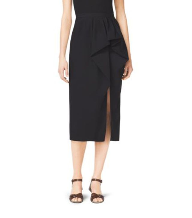Michael Kors Wool Gabardine Sarong Skirt