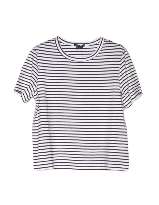 Theory Cropped Crew Stripe Tee