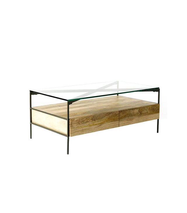 West Elm Glass-Topped Rustic Storage Coffee Table
