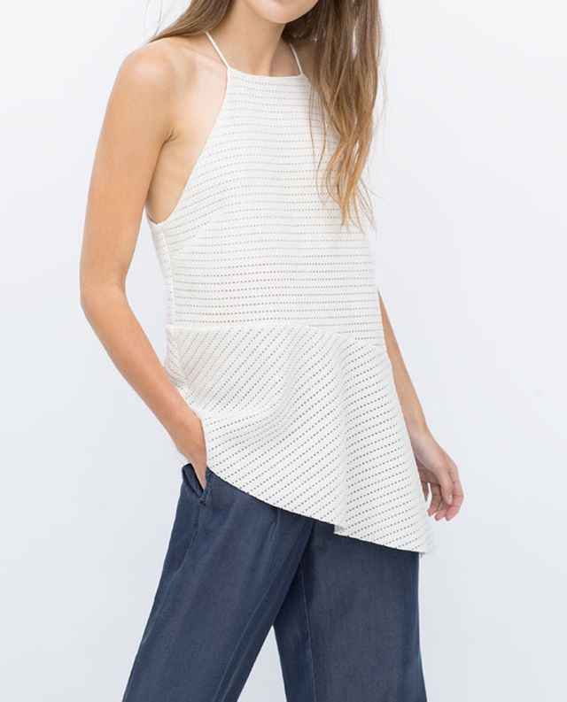 Zara Jacquard Asymmetric Strappy Top