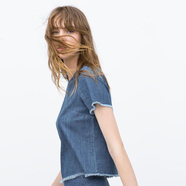 Zara Frayed Denim Crop Top
