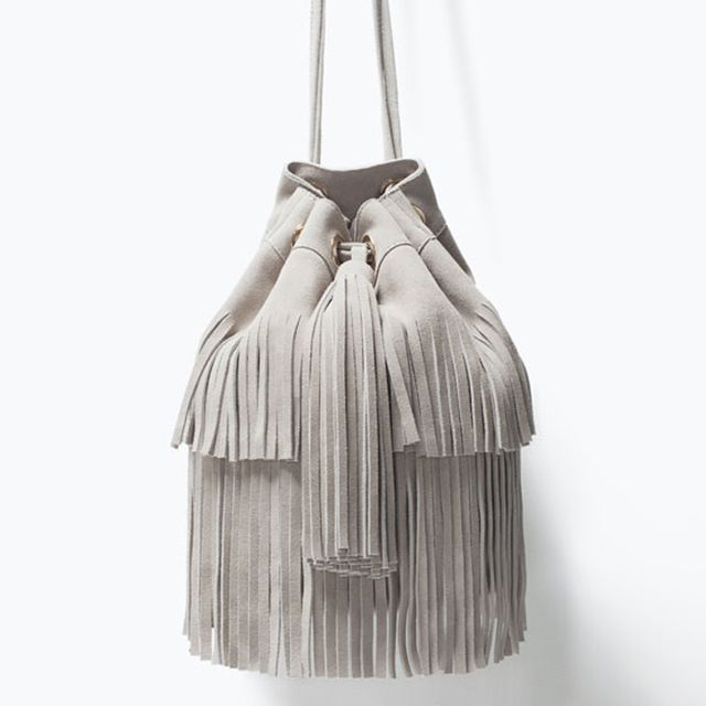 Zara Fringe Leather Bucket Bag