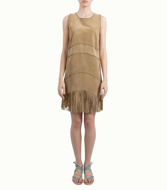 Alberta Ferretti Camel Fringe Suede Dress