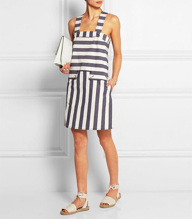 See by Chloé Striped Stretch-Denim Mini Dress