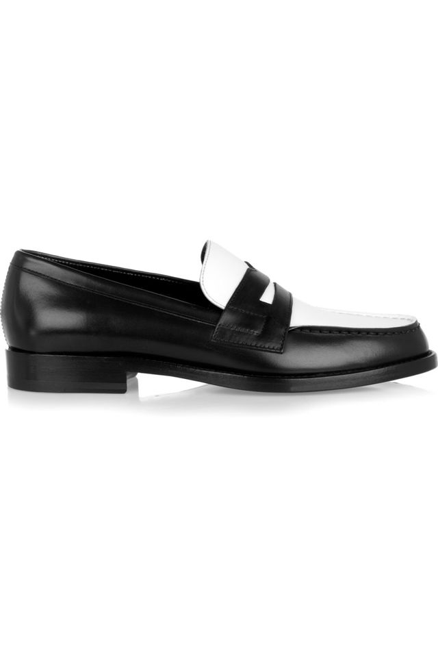 Saint Laurent Two-Tone Leather Penny Loafers