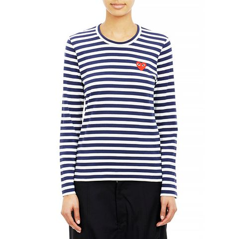 Black Small Play Striped T-Shirt, Navy/White