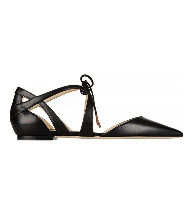 Jimmy Choo Lyssa Leather Point-Toe Flats