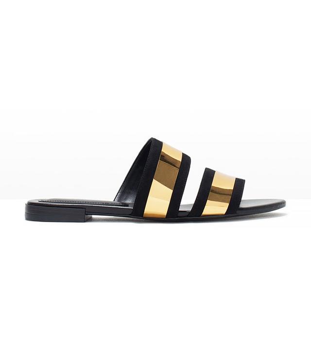 Zara Shiny Straps Flat Slides