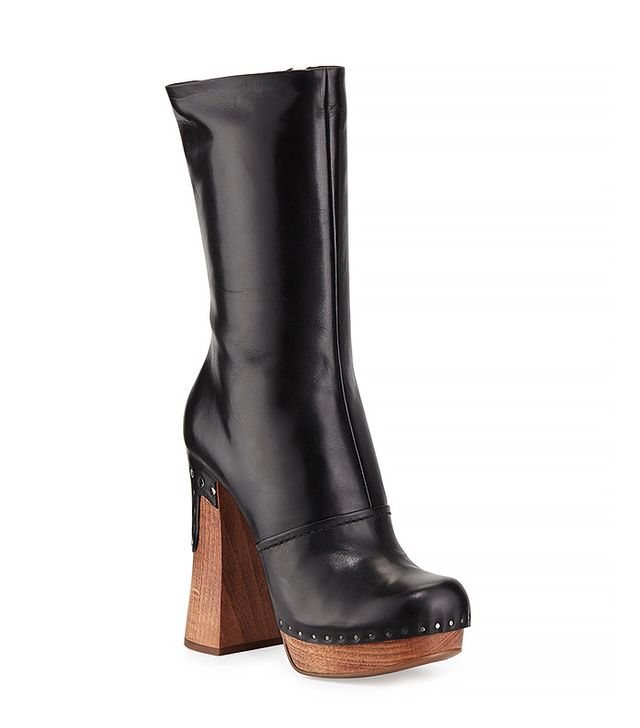 Prada Wooden-Heeled Leather Boots