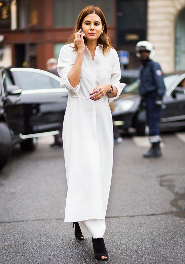 white maxi dress over pants