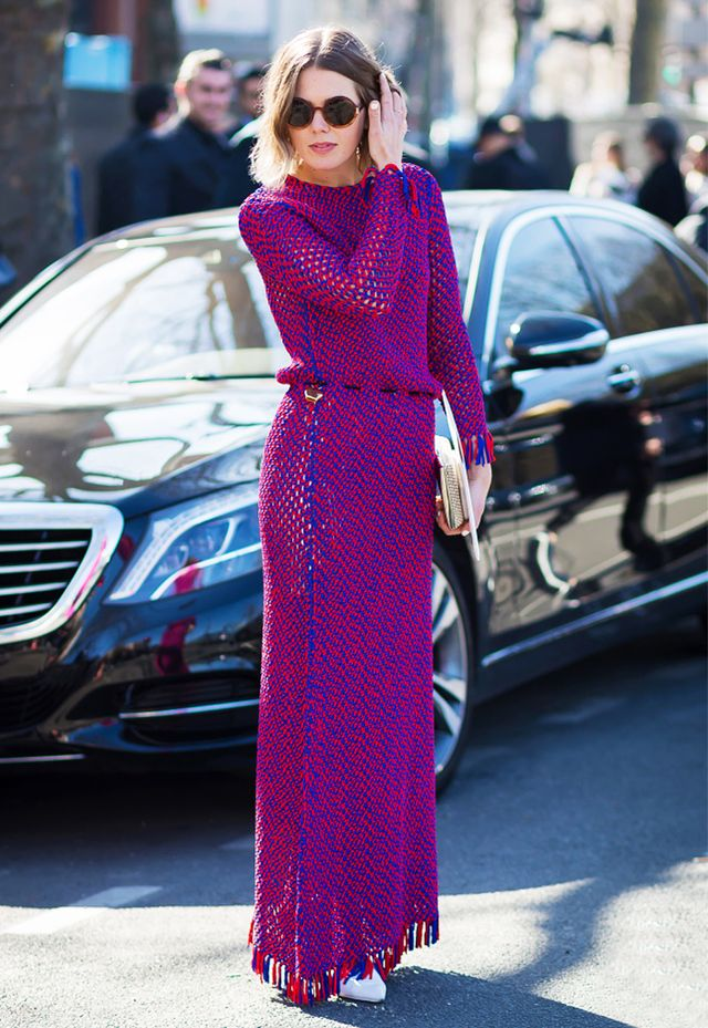 Long-sleeve maxi dresses always look cool: