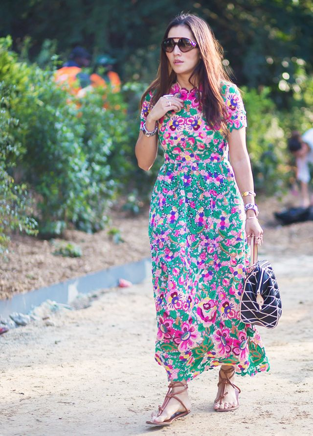 Abstract patterns temper brightly coloured maxi dresses: