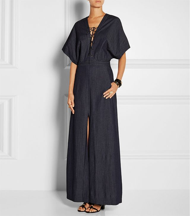 Tamara Mellon Lace-Up Stretch-Denim Maxi Dress