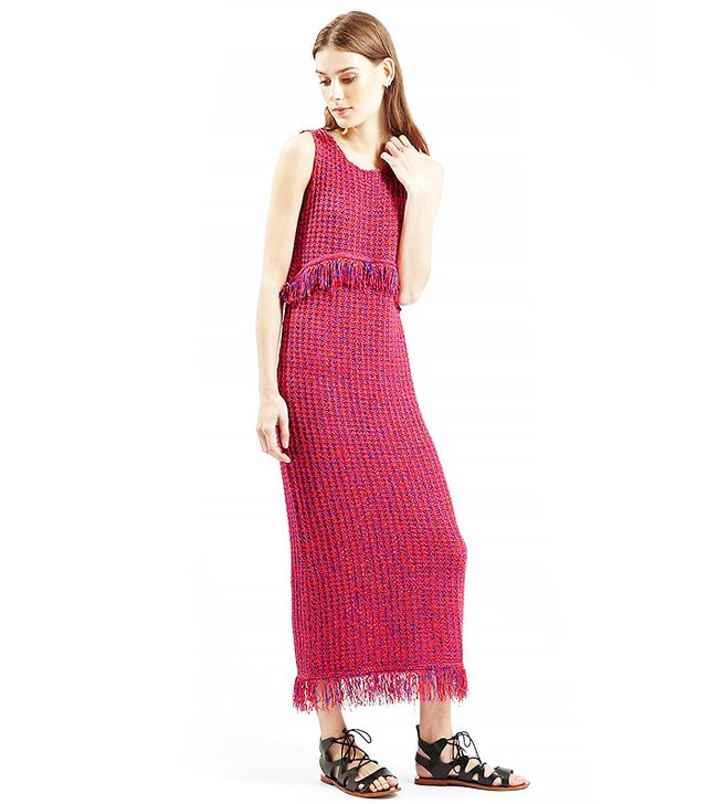 Topshop Fringe Stitch Maxi Dress