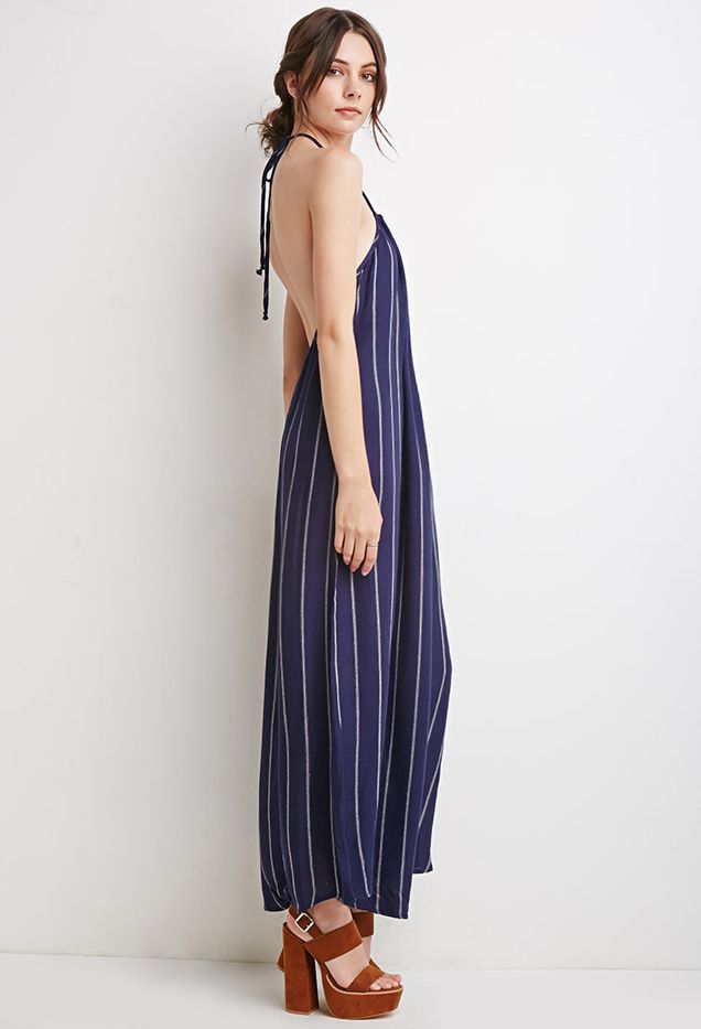 Forever 21 Stripe Halter Maxi Dress