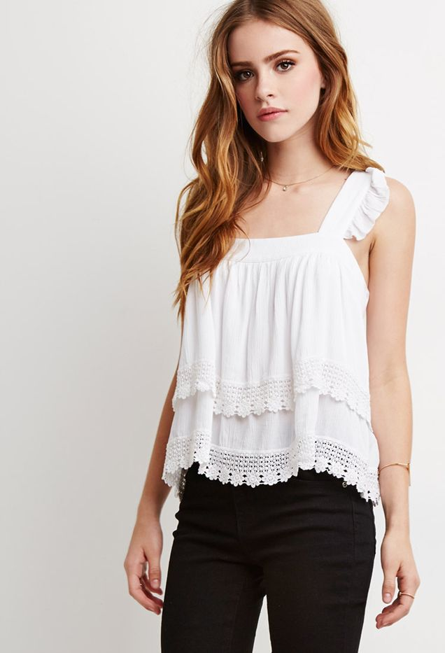 Forever 21 Crochet-Trimmed Flounce Top