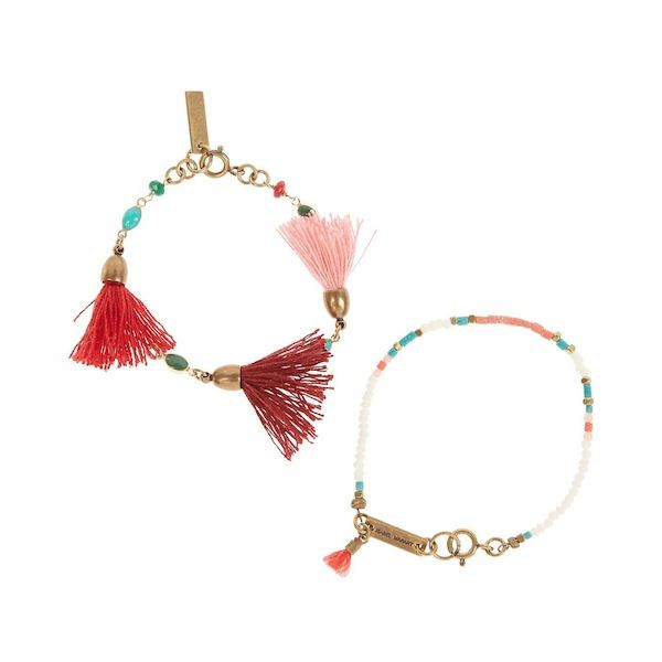 Isabel Marant Two Gold-Plated Bone And Multi-Stone Beaded Bracelets