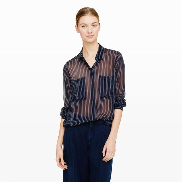 Club Monaco Coryn Silk Pinstripe Shirt