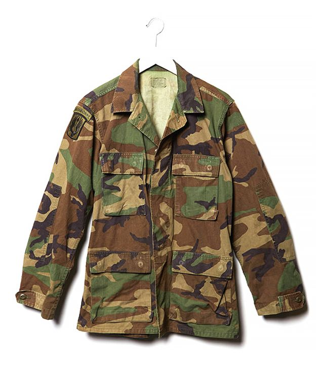 PacSun Retro Gold Vintage Airborne Camouflage Army Jacket