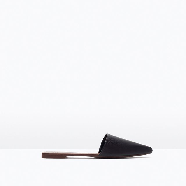 Zara Flat Leather Slippers