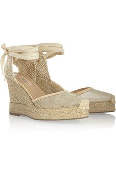 Valentino Leather-Trimmed Chantilly Lace Espadrilles