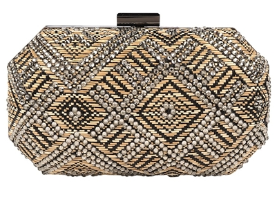Sondra Roberts Beaded and Raffia Clutch