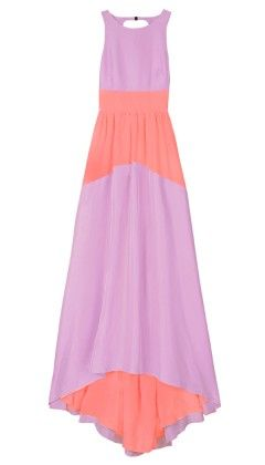 Tibi Silk Color Block Long Dress