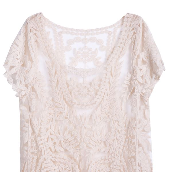 SheInside Apricot Short Sleeve Hollow Crochet Lace Top