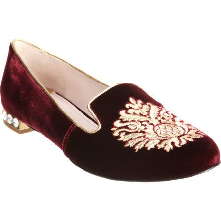Miu Miu Velvet Embroidered Slip-Ons