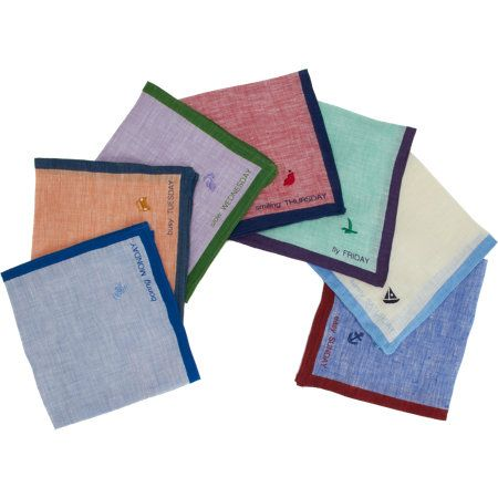 Barneys New York Co-Op Days of The Week Pocket Square Boxed Set