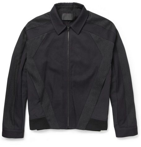 Alexander Wang for MR PORTER.COM Panelled Wool-Twill And Nylon-Canvas Jacket