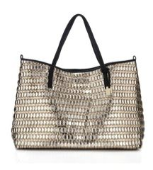 Botkier Botkier Wanderlust Gold and Silver Woven Tote with Black Leather Trim